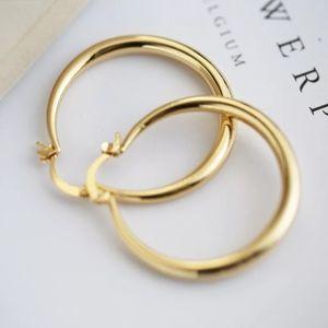 "*** 18K Yellow Gold 1.5"" Round Hoops Earrings"